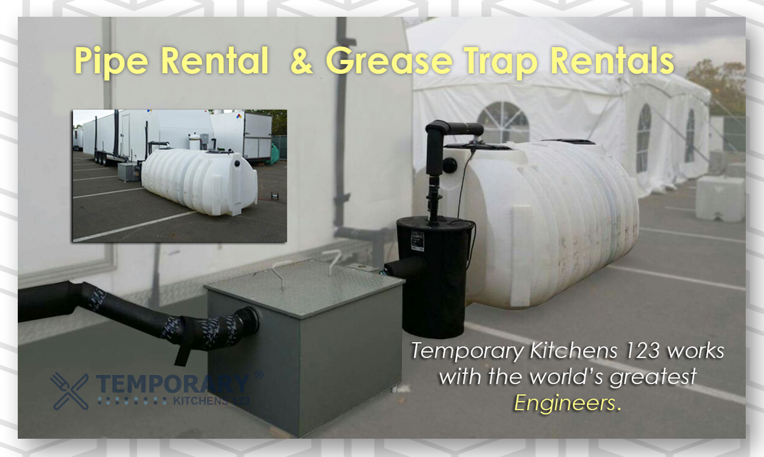 Grease Trap for rent pipe for rent temporary kitchens 123