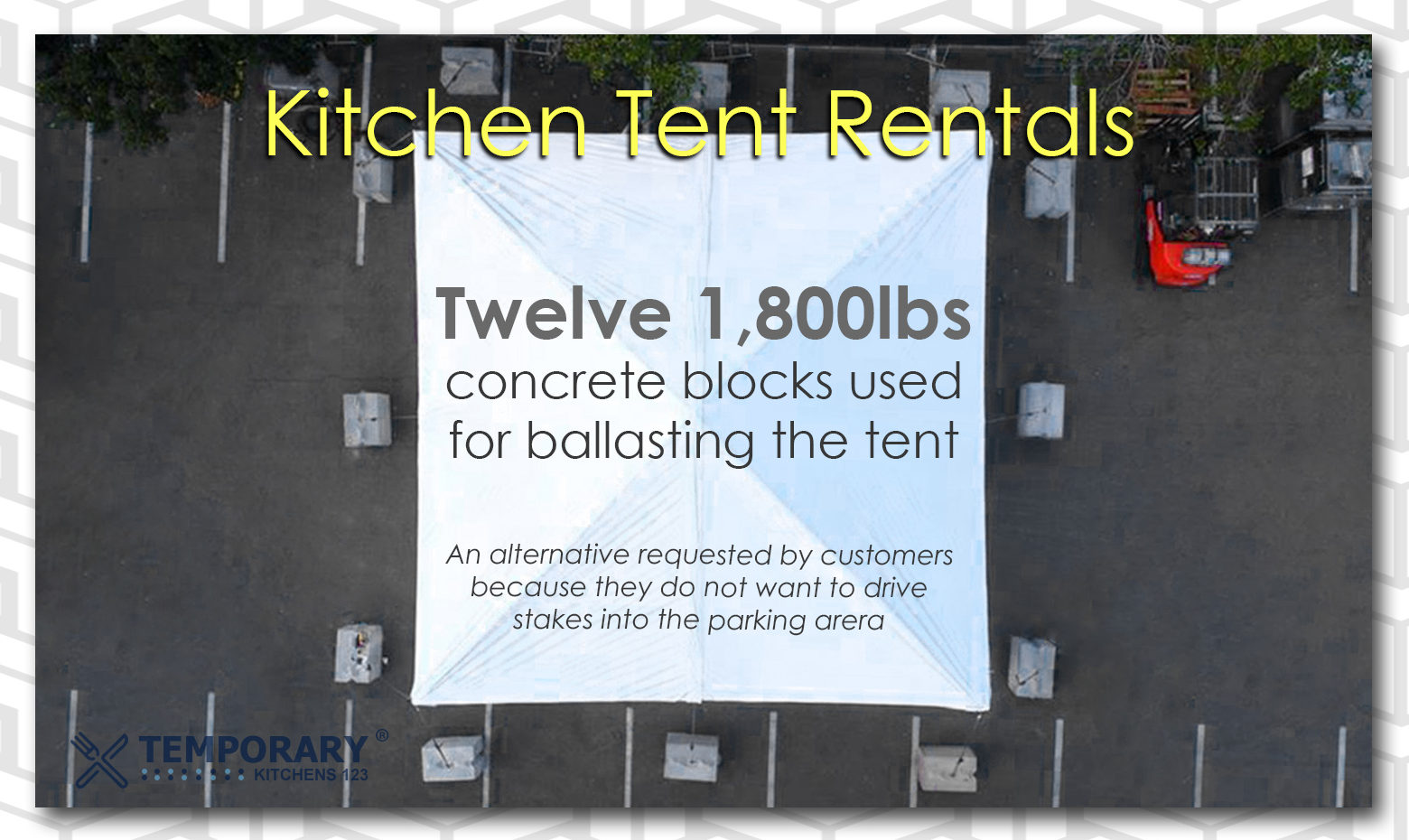 kitchen tent rentals with ballasting blocks firm hold temporary kitchens 123